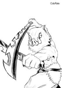 Иноске Хашибира раскраска распечатать на А4 - Раскраски из аниме «Клинок, рассекающий демонов»