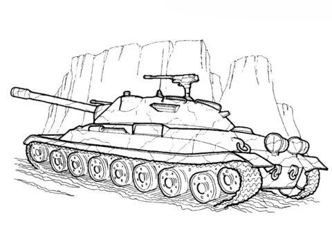 ИС-7 (СССР) разукрашка скачать и распечатать - Танки