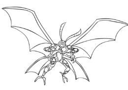 Испуганый Крылатый разукрашка скачать и распечатать - Бен 10
