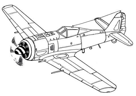 Самолеты бесплатная разукрашка - Истребитель Фокке-Вульф FW-190