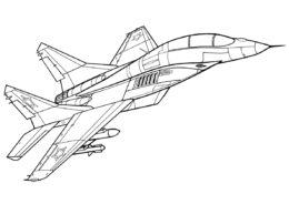 Самолеты бесплатная раскраска распечатать на А4 - Истребитель МиГ-29