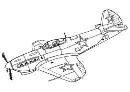 Раскраска Истребитель Як-9Д распечатать на А4 и скачать - Самолеты