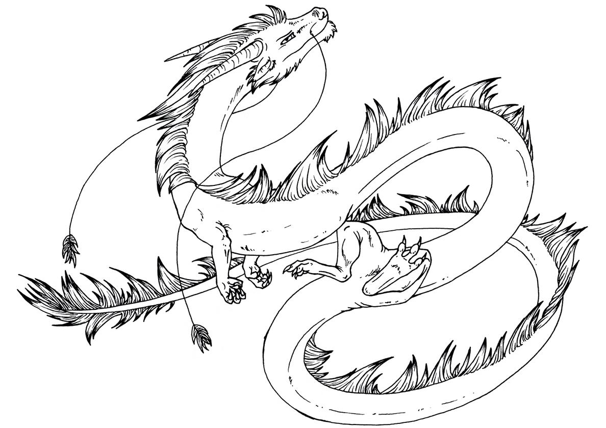 Картинка китайского дракона раскраска