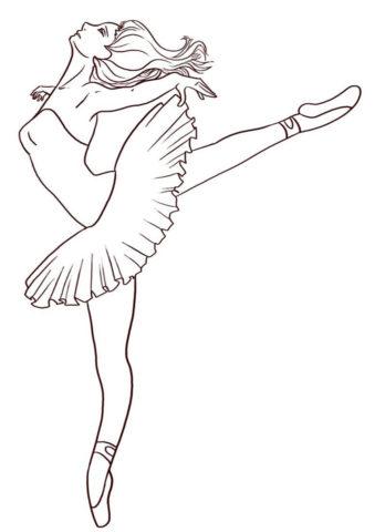 Изящные движения (Балерина) бесплатная раскраска на печать