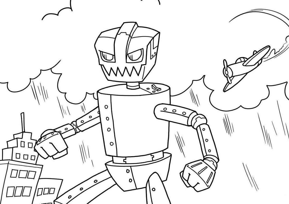 Раскраска Железный боец распечатать | Роботы