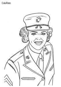 Военные бесплатная раскраска распечатать на А4 - Женщина - военный