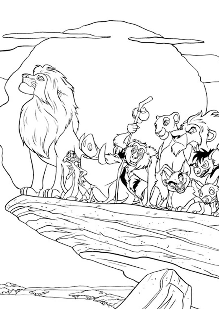 Раскраска Жители прайда распечатать   Король Лев