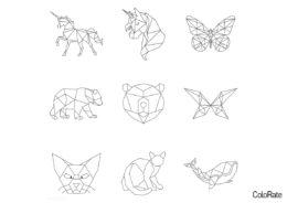 Животные из фигур раскраска распечатать и скачать - Геометрические фигуры