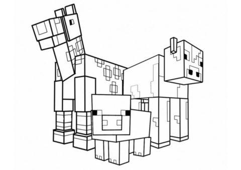 Животные Minecraft раскраска распечатать бесплатно на А4 - Майнкрафт
