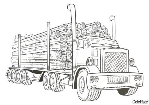 Бесплатная раскраска КАМАЗ 4310 лесовоз распечатать на А4 - Грузовики