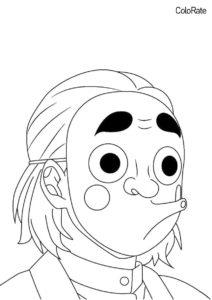 Бесплатная раскраска Канамори Кодзо - Раскраски из аниме «Клинок, рассекающий демонов»