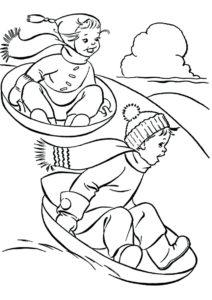 Бесплатная раскраска Катание на ледянках распечатать и скачать - Зима