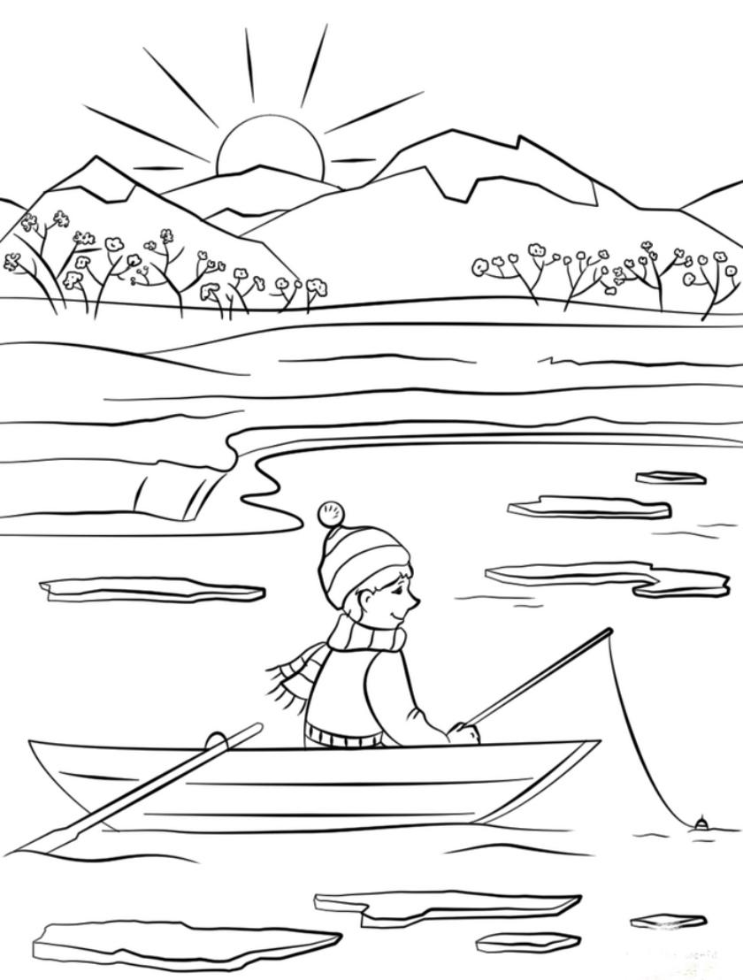 Раскраска Катание на лодке распечатать | Весна