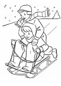 Катание на санках (Зима) бесплатная раскраска на печать