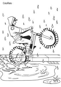 Катание во время дождя раскраска распечатать на А4 - Велосипеды