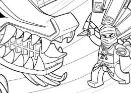 Раскраска Кай под атакой распечатать на А4 и скачать - LEGO Ниндзяго