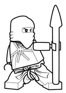 Кай с копьем распечатать разукрашку бесплатно - LEGO Ниндзяго