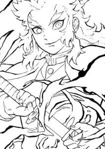 Кёджуро Рэнгоку - Раскраски из аниме «Клинок, рассекающий демонов» раскраска распечатать на А4
