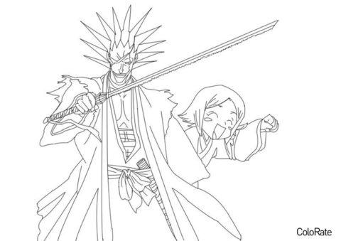 Бесплатная раскраска Кенпачи и Ячиру - Блич