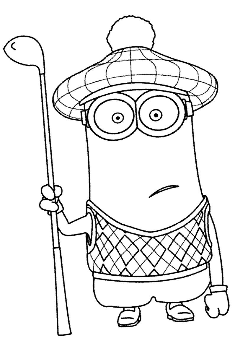Раскраска Кевин играет в гольф распечатать | Миньоны