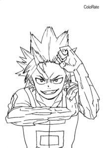 Моя геройская академия распечатать раскраску на А4 - Киришима