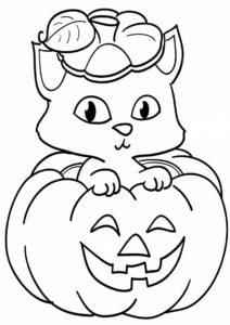 Разукрашка Киса отмечает Хеллоуин распечатать на А4 и скачать - Коты, кошки, котята