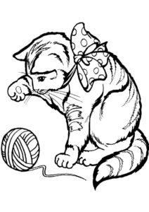 Бесплатная разукрашка для печати и скачивания Киса с клубком - Коты, кошки, котята