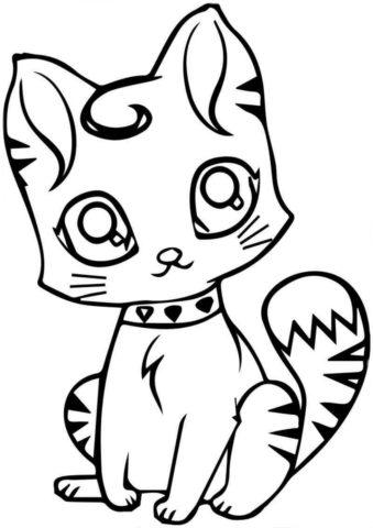 Коты, кошки, котята бесплатная разукрашка - Киса с ошейником