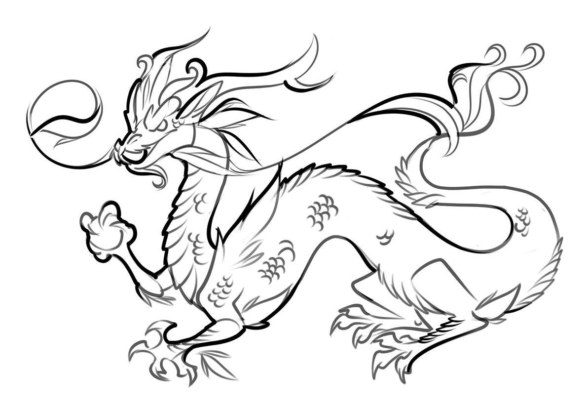 Раскраска Китайский дракон распечатать | Драконы