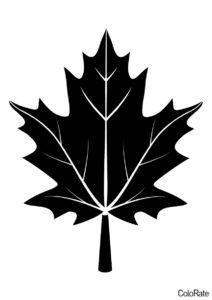 Трафарет Кленовый лист в виде дерева распечатать на А4 - Трафареты листьев