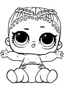 Кокосик Q.T. Младшая сестренка (L.O.L Маленькие сестренки) распечатать раскраску