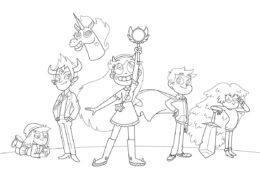 Команда Стар (Стар против сил зла) бесплатная раскраска на печать