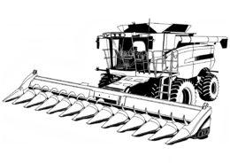 Разукрашка Комбайн распечатать на А4 и скачать - Трактора