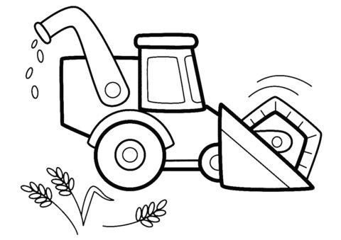 Бесплатная раскраска Комбайн на пашне распечатать на А4 - Трактора