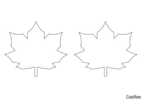 Трафарет Контур кленового листа - Средний распечатать на А4 и скачать - Трафареты листьев