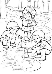 Кораблики (Весна) распечатать бесплатную раскраску