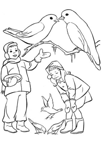 Разукрашка Кормление голубей распечатать на А4 - Зима