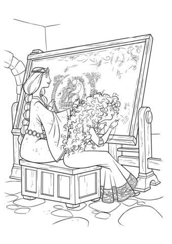 Бесплатная раскраска Королева рукодельница - Мерида