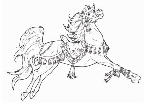 Королевский жеребец (Лошади и пони) бесплатная раскраска на печать