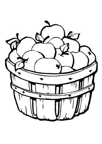 Корзина яблок распечатать разукрашку бесплатно - Осень