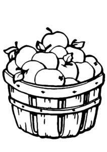 Корзина яблок распечатать раскраску - Яблоко