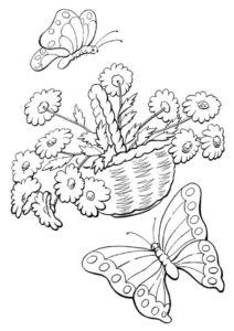 Весна бесплатная раскраска - Корзинка ромашек