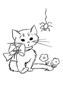 Бесплатная раскраска Кошечка и паук распечатать и скачать - Коты, кошки, котята