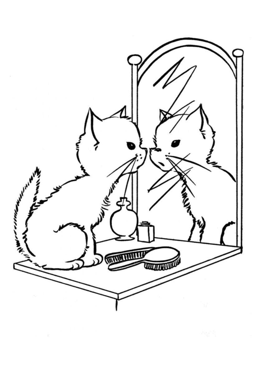 Раскраска Кошечка смотрит в зеркало распечатать | Коты ...