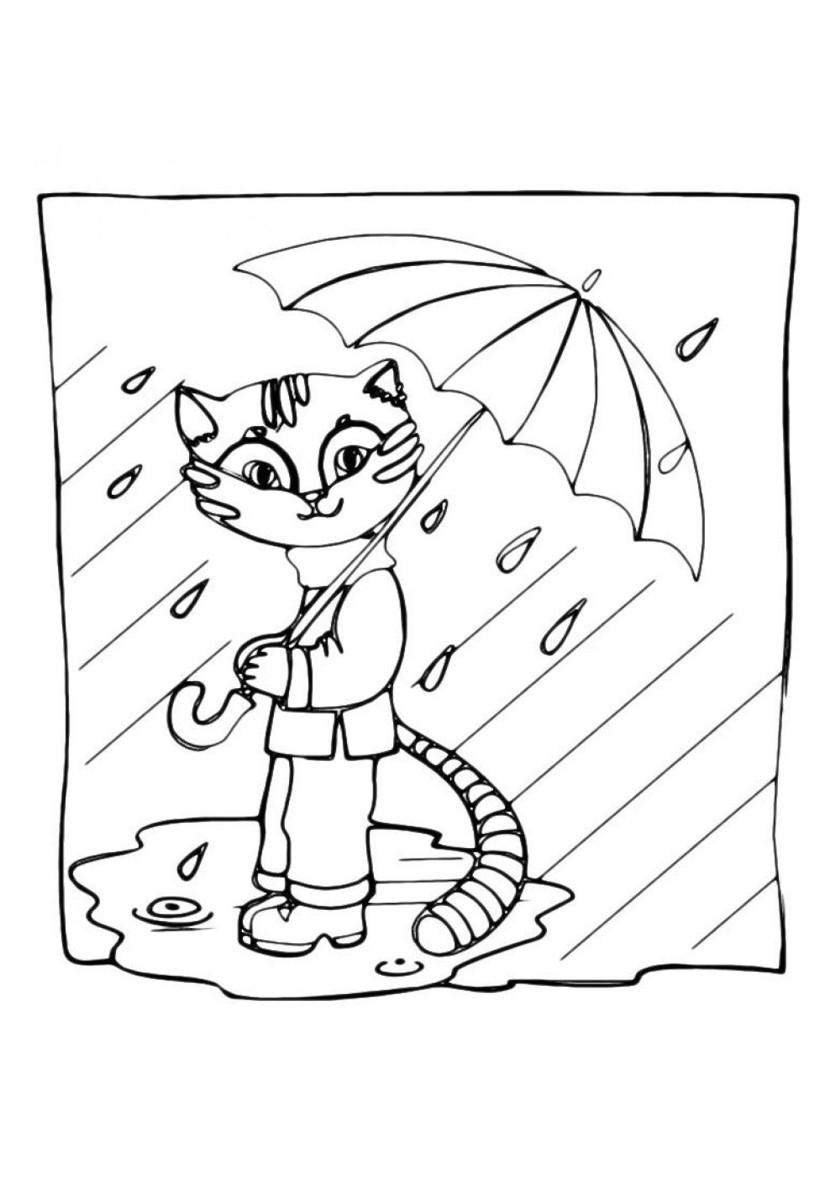 Раскраска Кошка гуляет под дождем распечатать | Коты ...