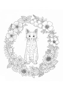 Раскраска Кошка и венок - Коты, кошки, котята