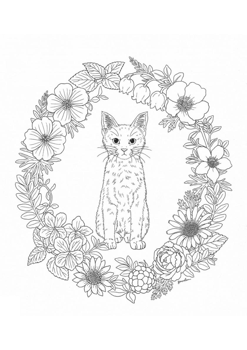 Раскраска Кошка и венок распечатать | Коты, кошки, котята