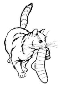 Кошка украла носок распечатать разукрашку бесплатно - Коты, кошки, котята