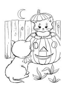Кошки готовятя к Хеллоуину (Коты, кошки, котята) распечатать разукрашку