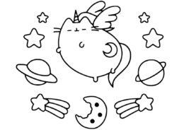 Космический кот (Единороги) распечатать разукрашку